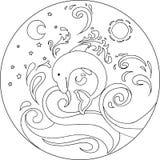 Mandala del delfino di coloritura Immagini Stock