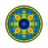 Mandala del fiore di vettore Stile di Dreamcatcher Elemento decorativo etnico Immagini Stock
