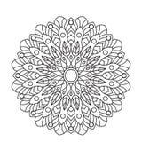 Mandala del libro de colorear Circunde el ornamento del cordón, modelo ornamental redondo, diseño blanco y negro Foto de archivo libre de regalías