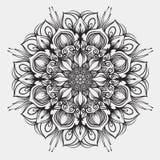 Mandala del profilo per il libro da colorare Ornamento orientale etnico del cerchio Ornamento rotondo decorativo modello di terap Fotografie Stock Libere da Diritti