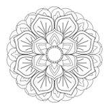 Mandala del profilo per il libro da colorare Ornamento rotondo decorativo Immagini Stock