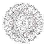 Mandala del profilo per il libro da colorare Ornamento rotondo decorativo Immagine Stock