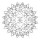 Mandala del profilo per il libro da colorare Ornamento rotondo decorativo Immagine Stock Libera da Diritti