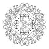 Mandala del profilo per il libro da colorare Ornamento rotondo decorativo Fotografie Stock
