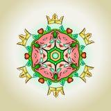 Mandala del tatuaggio con i gatti ed i cuori delle corone Fotografie Stock Libere da Diritti