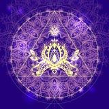 Mandala del vector con los elementos y el loto matemáticos I hermoso Imágenes de archivo libres de regalías