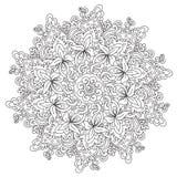 Mandala dell'annata del profilo di coloritura illustrazione di stock