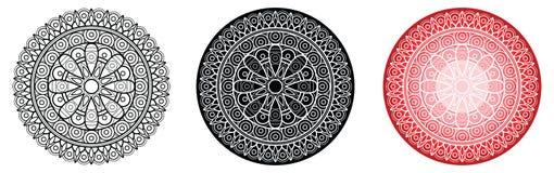 Mandala della geometria con il fiore nel centro per il libro da colorare e la vostra progettazione Reticolo rotondo Immagine Stock Libera da Diritti