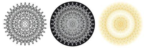 Mandala della geometria con la stella nel centro per il libro da colorare e la vostra progettazione Reticolo rotondo Fotografia Stock Libera da Diritti