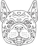 Mandala della testa del bulldog francese Fotografia Stock