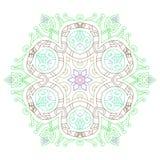 Mandala des lignes incurvées gracieuses Motifs folkloriques de l'Asie, Inde illustration libre de droits