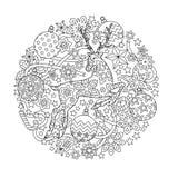 Mandala des neuen Jahres mit Rotwild und festlichen Gegenständen Zentangle spornte Art an Stockbilder