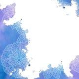 Mandala - desenho a mão livre Fundo do vetor Cor de água azul Imagem de Stock Royalty Free