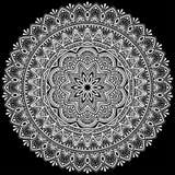 Mandala deseniuje biel Fotografia Royalty Free