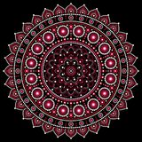 Mandala design, Aboriginal dot painting style, Australian folk art boho style. Mandalas dot pattern in red and pink inspired by traditional art from Australia on vector illustration