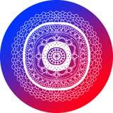 Mandala Design Blue et cercle rouge Images libres de droits