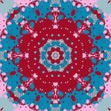 Mandala Design Flor vermelha e azul da simetria da cor como a arte da forma ilustração royalty free