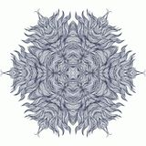 Mandala design or snowflake in dark blue Royalty Free Stock Photography
