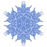 Mandala design or snowflake in dark blue Stock Photo