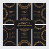 Mandala design template vector collection. Set of luxury golden oriental ornamentsSet of luxury golden ornate frames for identity, royalty free illustration