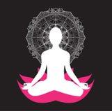 Mandala di asana di meditazione di yoga illustrazione vettoriale
