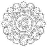 Mandala di astrazione del profilo di coloritura illustrazione di stock