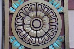 Mandala di Lotus con i dettagli blu della foglia Fotografie Stock Libere da Diritti