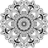 Mandala di tatoo del hennè di vettore nello stile di mehndi Reticolo decorativo Elemento del libro da colorare Fotografia Stock