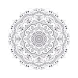 Mandala dibujada mano de la flor para el libro de colorear Eth blanco y negro Foto de archivo