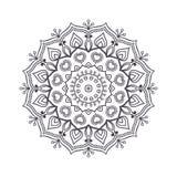Mandala dibujada mano de la flor para el libro de colorear Eth blanco y negro Fotos de archivo libres de regalías