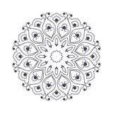 Mandala dibujada mano de la flor para el libro de colorear Eth blanco y negro Imagen de archivo