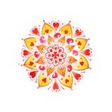Mandala dibujada mano del amor del corazón Imagenes de archivo