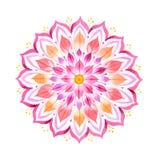 Mandala dibujada mano rosada de la flor Imagen de archivo