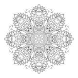 Mandala disegnata a mano dell'elemento decorativo etnico in bianco e nero, per la pagina di coloritura Motivi di Orienta Fotografia Stock Libera da Diritti