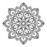 Mandala disegnata a mano dell'elemento decorativo etnico in bianco e nero, per la pagina di coloritura Motivi di Orienta Fotografie Stock