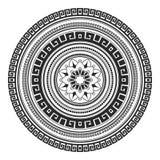 Mandala disegnata a mano dell'elemento decorativo etnico in bianco e nero, per la pagina di coloritura Motivi di Orienta Fotografia Stock