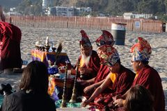 Mandala Dissolution Ceremony blessing Stock Images