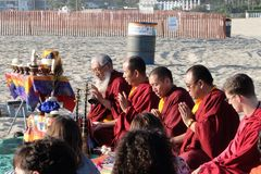 Mandala Dissolution Ceremony. Tibetan Monks preside the Mandala Dissolution Ceremony at Santa Monica Beach, October 2014 Royalty Free Stock Photos