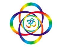 Mandala do arco-íris com um sinal de Aum/OM Objeto da arte abstrata Símbolo espiritual Foto de Stock Royalty Free