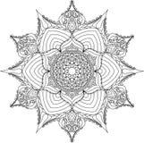Mandala do esboço para o livro para colorir Imagens de Stock Royalty Free