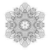 Mandala do Monochrome do vetor Elemento redondo decorativo ?tnico ilustração stock