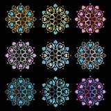 Mandala do ornamento no fundo preto Fotografia de Stock