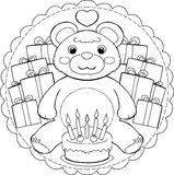 Mandala do urso de peluche do feliz aniversario ilustração stock