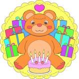 Mandala do urso de peluche do feliz aniversario ilustração royalty free