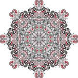 Mandala do Valentim, com corações Cores pretas, brancas e vermelhas Ilustração do vetor Imagens de Stock Royalty Free