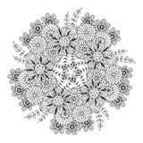 Mandala do vetor com teste padrão de flores Página adulta do livro para colorir Design floral para a decoração Fotos de Stock Royalty Free