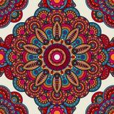 Mandala doodle colored seamless pattern Royalty Free Stock Photo
