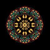 Mandala dorata Decorativo astratto etnico Immagine Stock