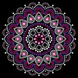 Mandala dot painting vector design, Aboriginal style, Australian folk art boho ornament in pink and purple Stock Photo