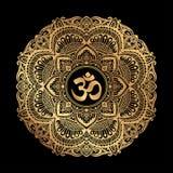 Mandala dourada de OM Foto de Stock
